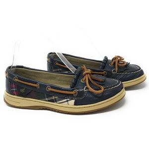 Sperry Butterflyfish Fringe Blue Plaid Boat Shoes